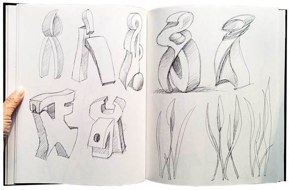 Two pages of a sketchbook showing ten drawings of sculpture ideas.