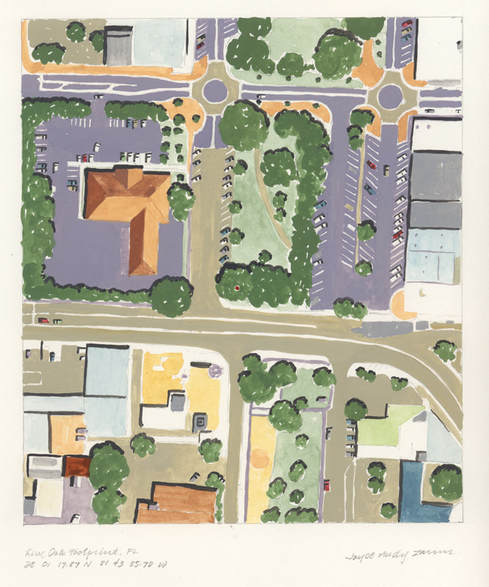 pastel colored aerial view of streets, buildings, trees, and a parking lot in Winterhaven, FL. A small red dot shows which tree the pattern for Live Oak Footprint, FL was made from..