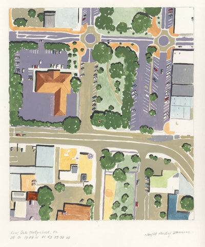 Aerial view painting of streets, buildings, and a park in Winterhaven, Florida. A dot indicates where the Live Oak tree pattern was made.